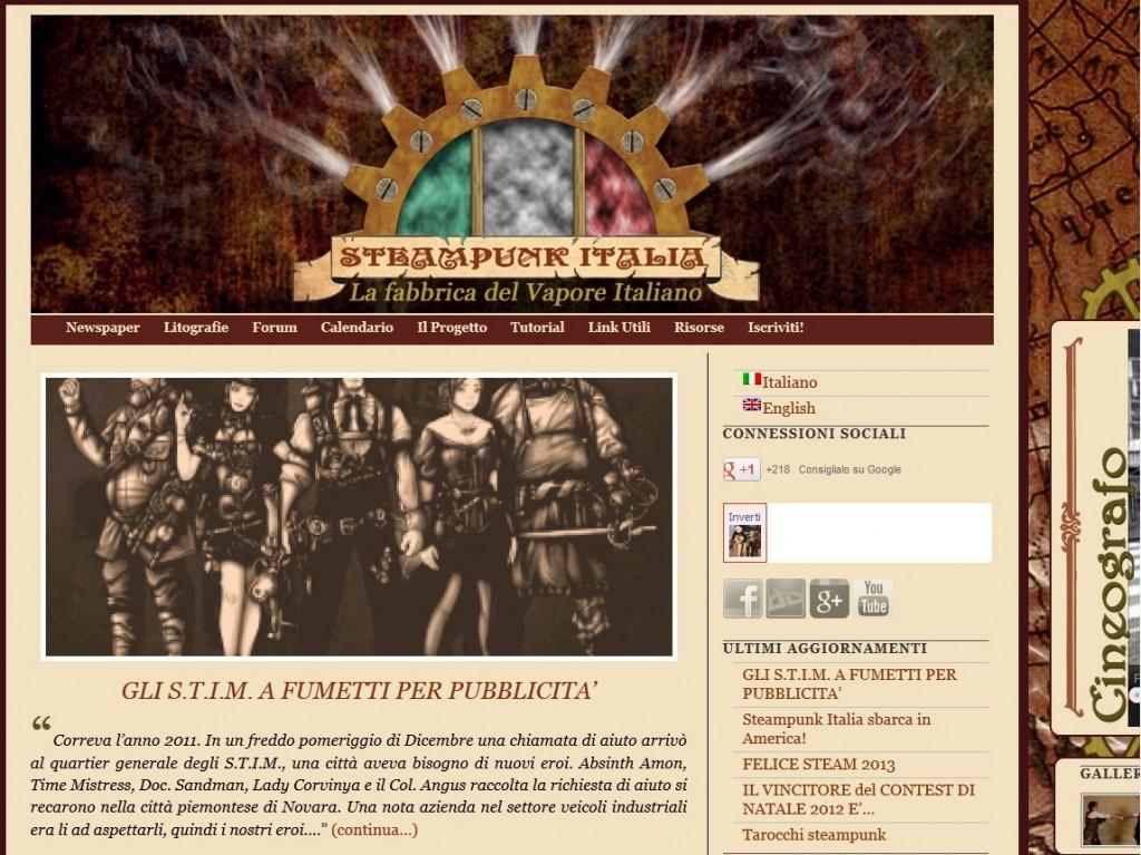la nuova veste grafica del sito di Steampunk Italia