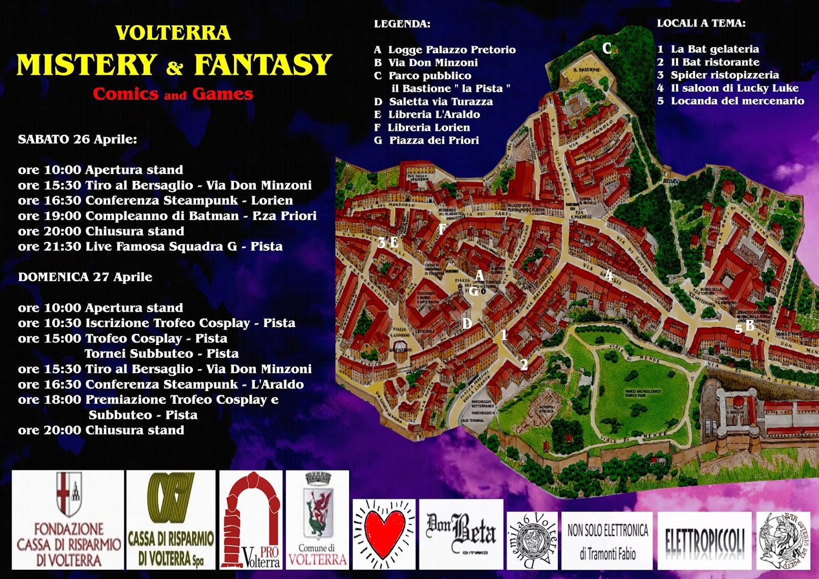 la mappa con i principali eventi in programma